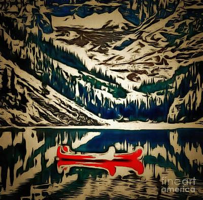 Canoe Digital Art - Canoes Red In Ambiance by Catherine Lott