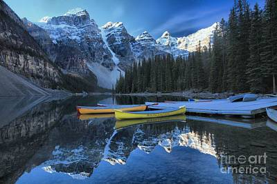 Photograph - Canoes Under The Peaks by Adam Jewell