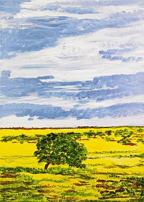 Painting - Canola Field With Trees by Valerie Ornstein