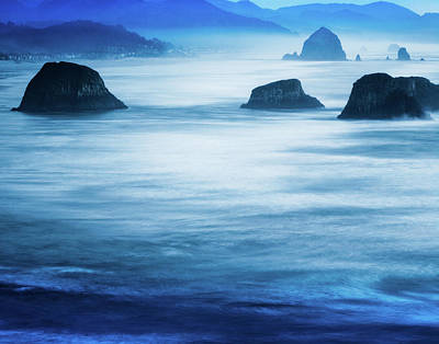 Ethereal Dreamy Ocean Photograph - Canon Beach Blues by Debi Bishop