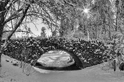 Canon Hill Park Winter - Black And White Art Print