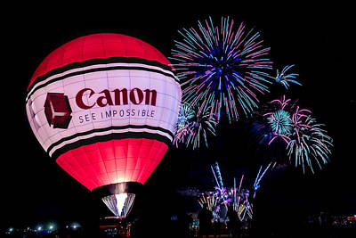 Photograph - Canon - See Impossible - Hot Air Balloon With Fireworks by Ron Pate