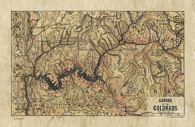 Painting - Canons Of The Colorado Map by Lisa Middleton