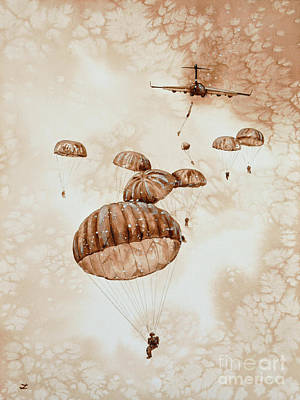 Parachute Painting - Canopies Over The Drop Zone by Zaira Dzhaubaeva