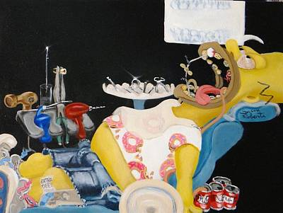 Painting - Homer At The Dentist by Susan Roberts