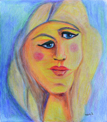 Colored Pencil Portrait Drawing - Can't See Eye To Eye by Donna Blackhall