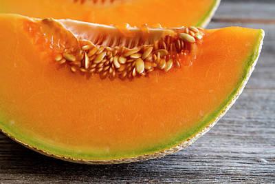 Cantaloupe Photograph - Cantaloupe Melon Close Up by Teri Virbickis