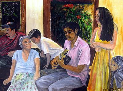 Painting - Cantando Navidad  Christmas Caroling by Sarah Hornsby