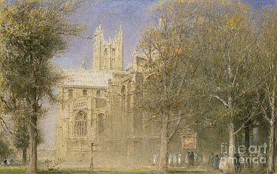 Village Scene Painting - Canterbury Cathedral by Albert Goodwin