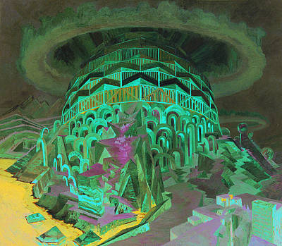 Hallucination Painting - Cantilever Cupola With Five Hilltops As Basis  by Wenzel Hablik