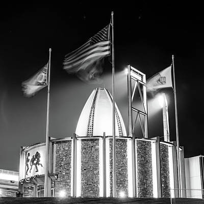 Photograph - Canton Ohio Nfl Pro Football Hall Of Fame - Square Black And White by Gregory Ballos