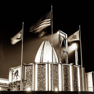 Photograph - Canton Ohio Nfl Pro Football Hall Of Fame - Square Sepia by Gregory Ballos