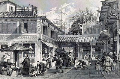 Canton Street Scene, 19th Century Art Print by British Library