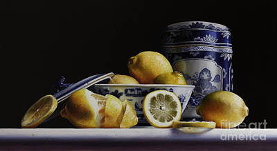 Porcelain Painting - Canton With Lemons by Lawrence Preston