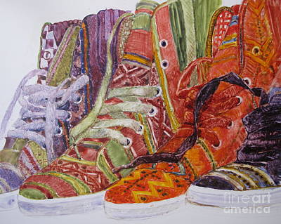 Painting - Canvas  Hightops by Louise Peardon