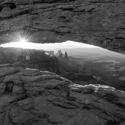 Photograph - Canyon Light - Mesa Arch Monochrome 1x1 by Gregory Ballos