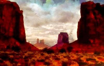 Digital Manipulation Painting - Canyon Panorama by Mario Carini