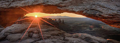 Photograph - Canyon Panoramic Light - Mesa Arch In Canyonlands National Park by Gregory Ballos