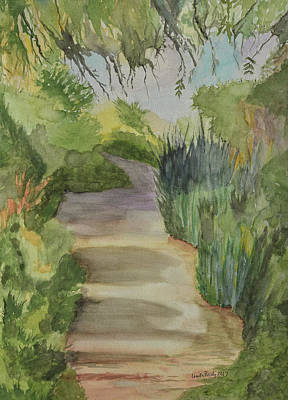 Watercolor Dragonflies - Canyon Path II Watercolor by Linda Brody