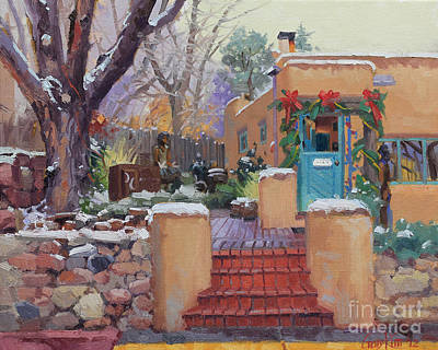 Dating Painting - Canyon Road Christmas by Gary Kim