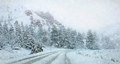 Wintry Mixed Media - Canyon Snow by Lori Deiter