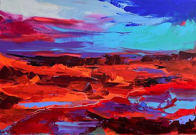Landmarks Painting Royalty Free Images - Canyon at Dusk - Art by Elise Palmigiani Royalty-Free Image by Elise Palmigiani