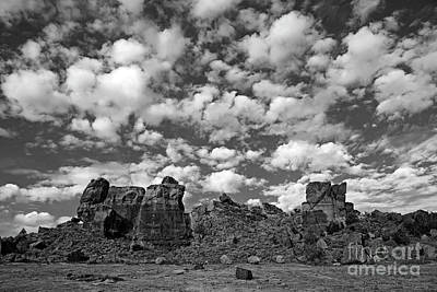 Photograph - Canyons Of The Ancients Skyline Black And White by John Stephens