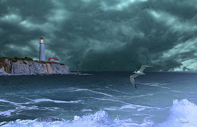Digital Art - Cap-des-rosiers Lighthouse by M Spadecaller