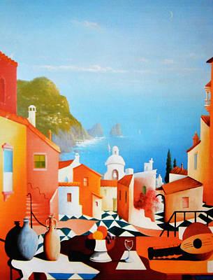 Italian Wine Painting - La Bellissima Isola De Capri by Joe Gilronan
