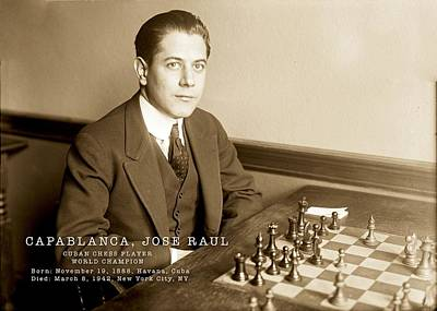 Photograph - Capablanca Champion Chess Player  by Carlos Diaz