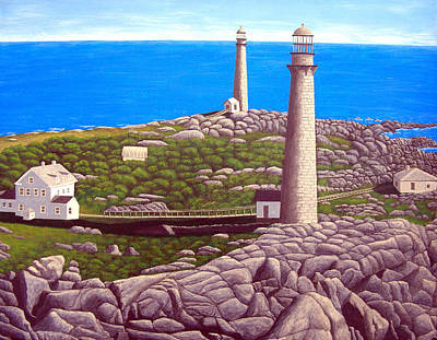 Historic Lighthouse Images Painting - Cape Ann Twin Towers by Frederic Kohli
