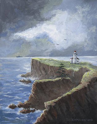 Cape Arago Lighthouse Original by Jerry McElroy