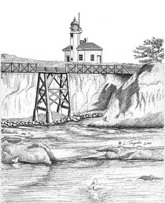 Drawing - Cape Arago Lighthouse by Lawrence Tripoli