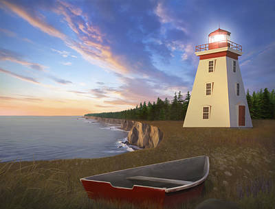 30 X 24 Painting - Cape Bear Light by James Charles