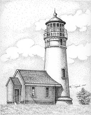 Drawing - Cape Blanco Lighthouse by Lawrence Tripoli