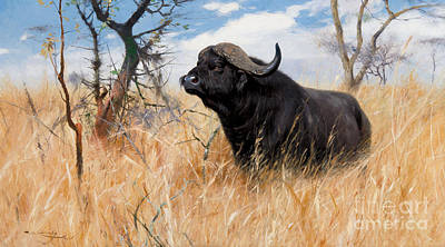 Cape Buffalo Painting - Cape Buffalo by MotionAge Designs