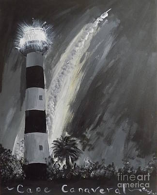Cape Florida Lighthouse Painting - Cape Canaveral Lighthouse by Bryon Bewsher