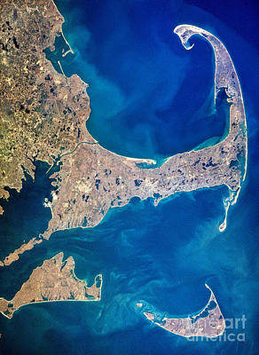 Beach Royalty-Free and Rights-Managed Images - Cape Cod and Islands Spring 1997 view from satellite by Matt Suess