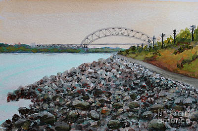 Bourne Bridge Painting - Cape Cod Canal To The Bourne Bridge by Rita Brown