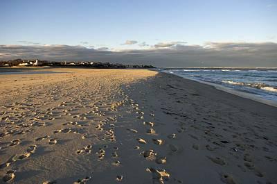 Cape Cod Foot Prints On Sandy Beach Art Print