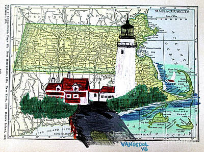 Light Paint Drawing - Cape Cod Lighthouse - Vintage Map - Massachusetts by Scott D Van Osdol