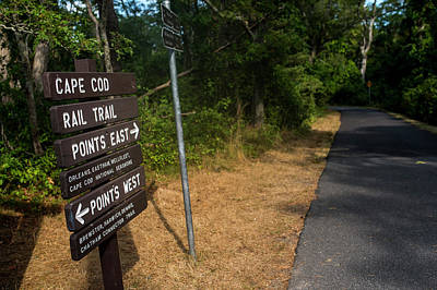 Cape Cod Rail Trail Sign Eastham Path Art Print by Toby McGuire