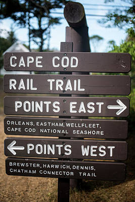 Cape Cod Rail Trail Sign Eastham Art Print by Toby McGuire