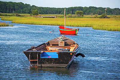 Photograph - Cape Cod Red Boat Chatham Ma Ladder by Toby McGuire