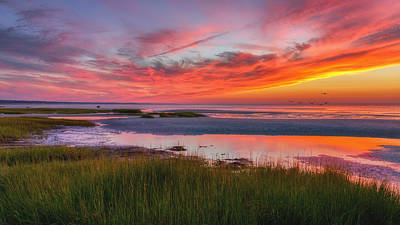 Cape Cod Skaket Beach Sunset Art Print by Bill Wakeley
