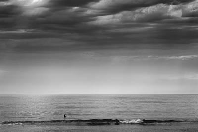 Cape Cod Surfer Black And White Ocean Photography Original by Dapixara Art
