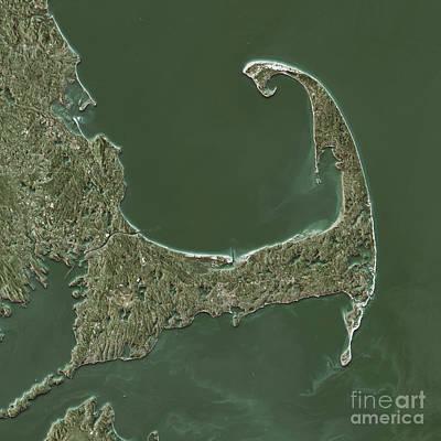 Cape Cod Topographic Map Natural Color Top View Art Print