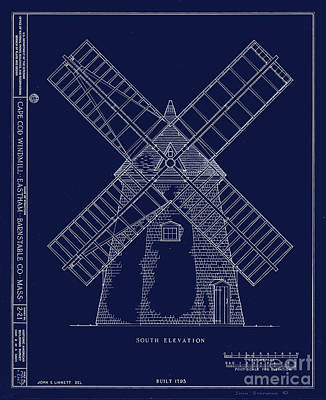 Historic Cape Cod Windmill Blueprint Art Print by John Stephens