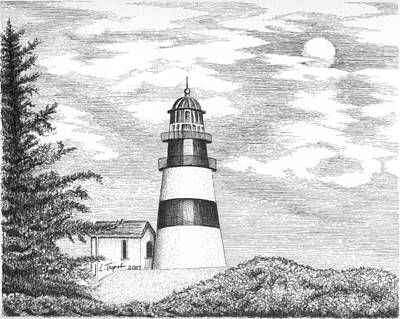 Drawing - Cape Disappointment Lighthouse by Lawrence Tripoli
