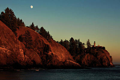 Photograph - Cape Disappointment Moonrise by Mary Jo Allen